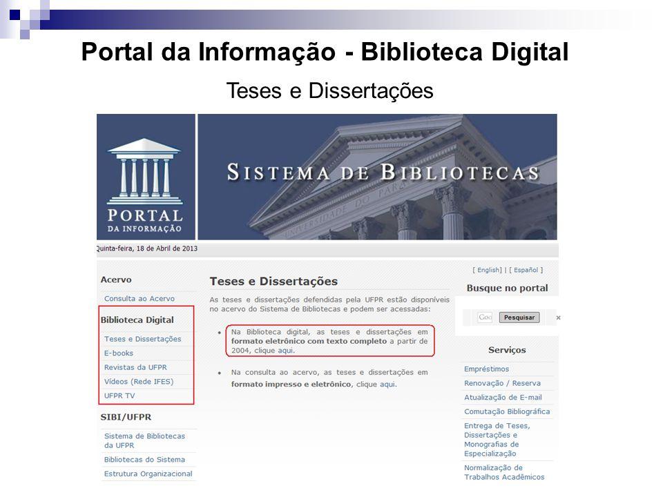 Portal da Informação - Biblioteca Digital Teses e Dissertações