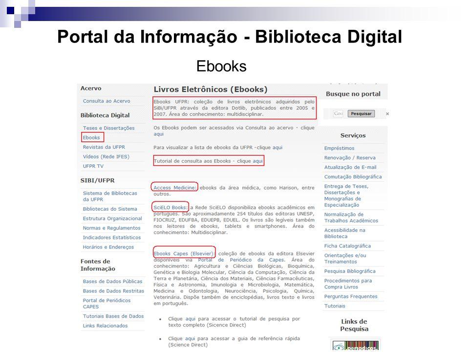 Portal da Informação - Biblioteca Digital Ebooks