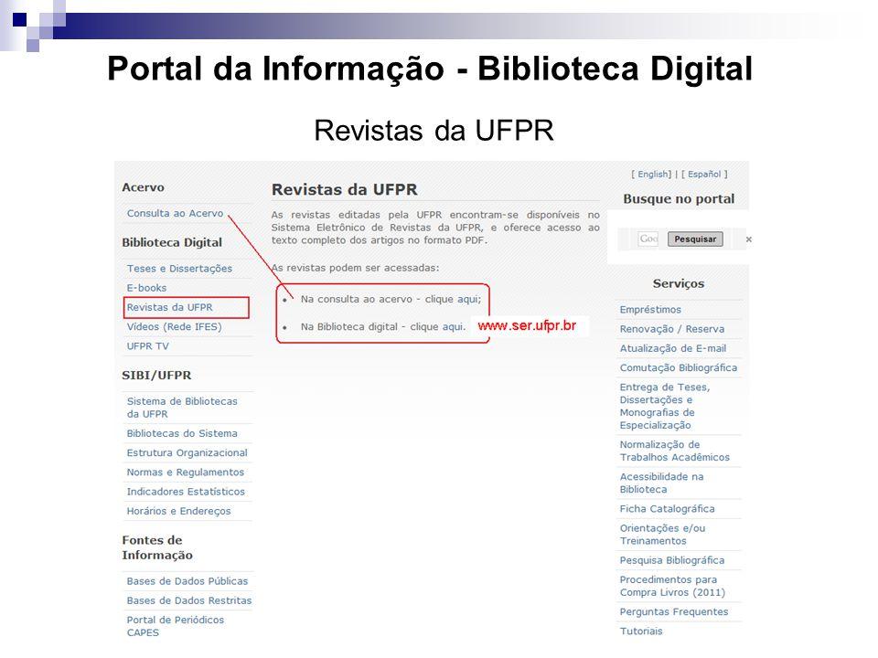 Portal da Informação - Biblioteca Digital Revistas da UFPR