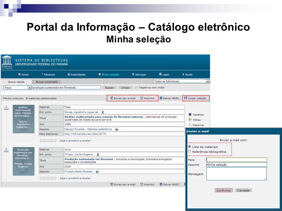 Portal da Informação – Catálogo eletrônico Minha seleção