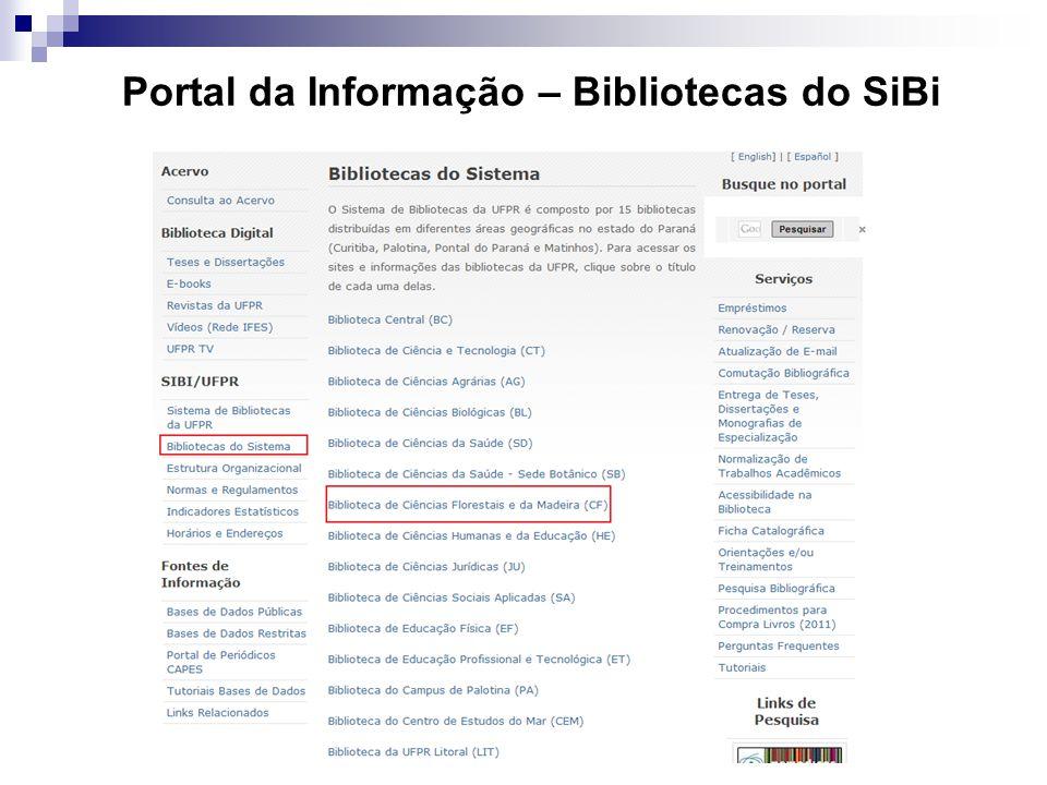 Portal da Informação – Bibliotecas do SiBi