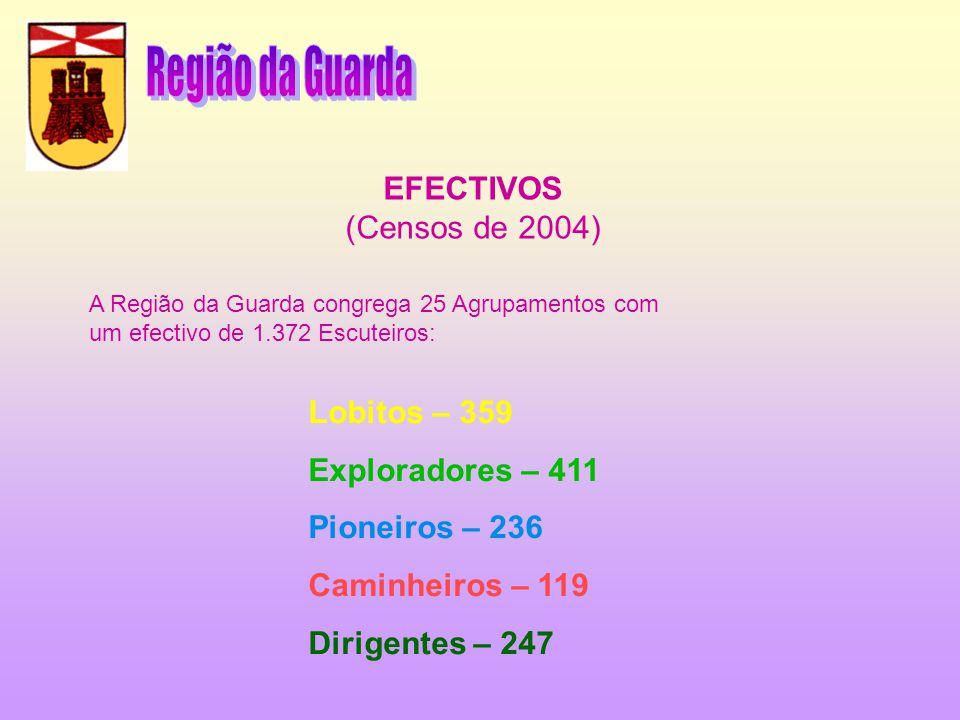 EFECTIVOS (Censos de 2004) A Região da Guarda congrega 25 Agrupamentos com um efectivo de 1.372 Escuteiros: Lobitos – 359 Exploradores – 411 Pioneiros