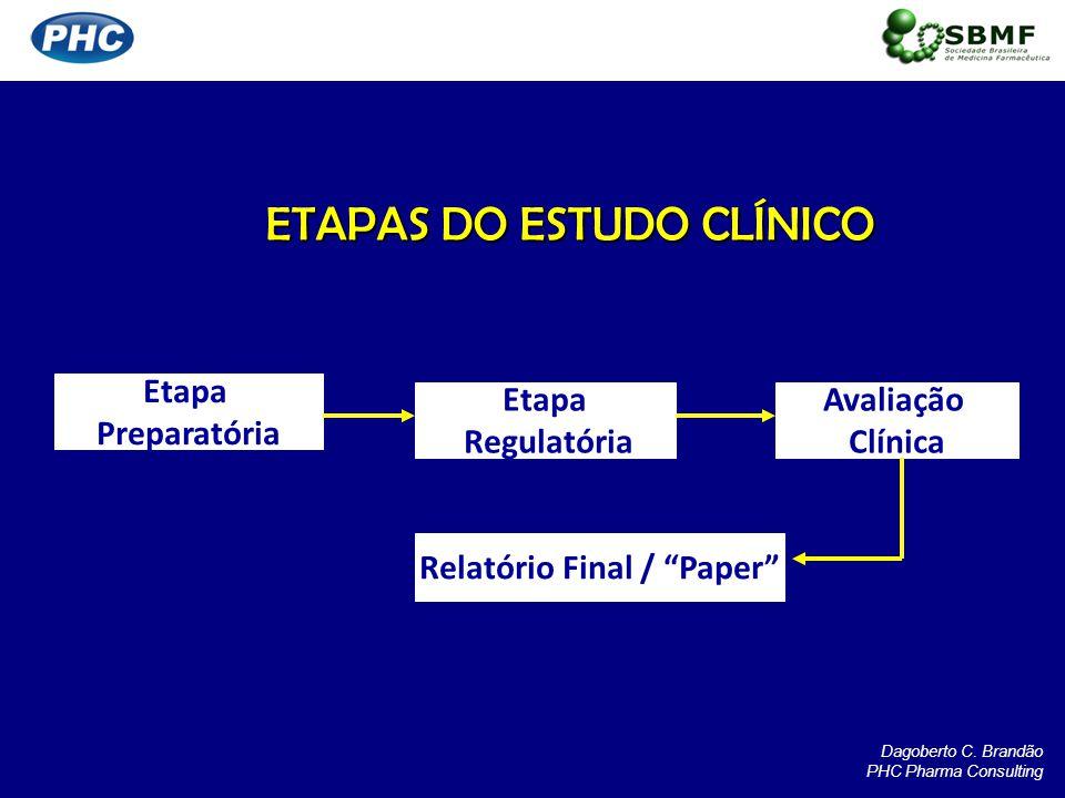 ETAPAS DO ESTUDO CLÍNICO Etapa Preparatória Etapa Regulatória Avaliação Clínica Relatório Final / Paper Dagoberto C. Brandão PHC Pharma Consulting