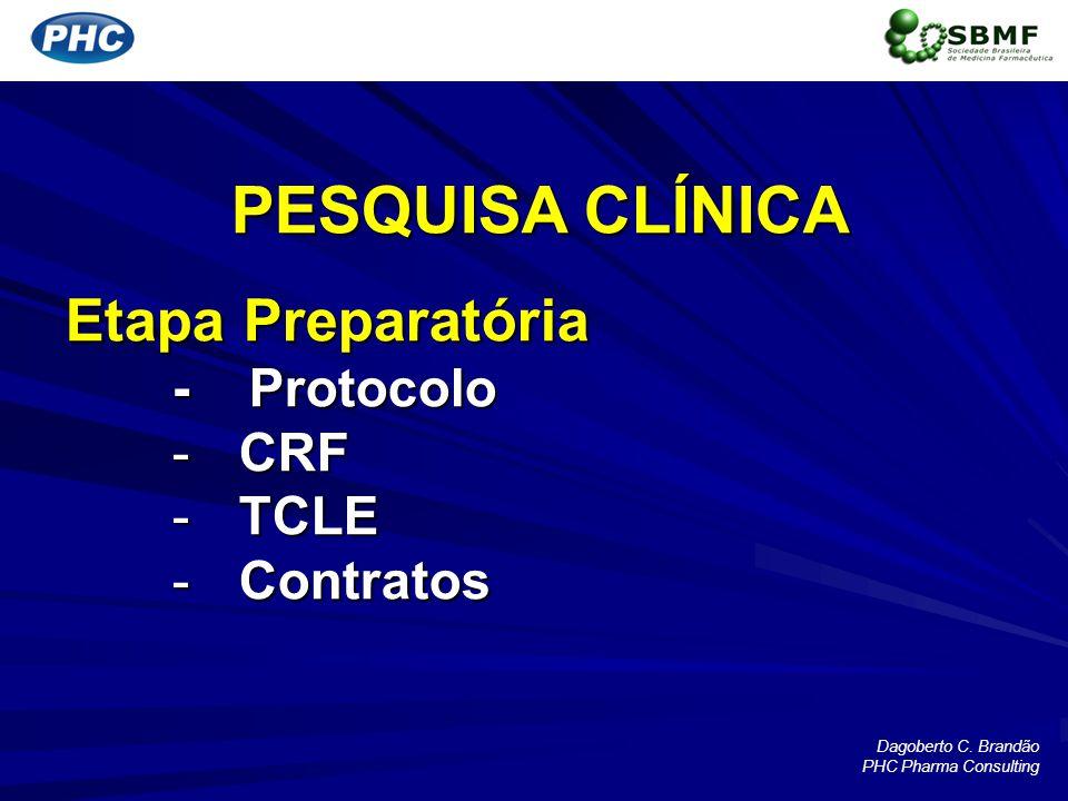 PESQUISA CLÍNICA Etapa Preparatória - Protocolo -CRF -TCLE -Contratos Dagoberto C. Brandão PHC Pharma Consulting