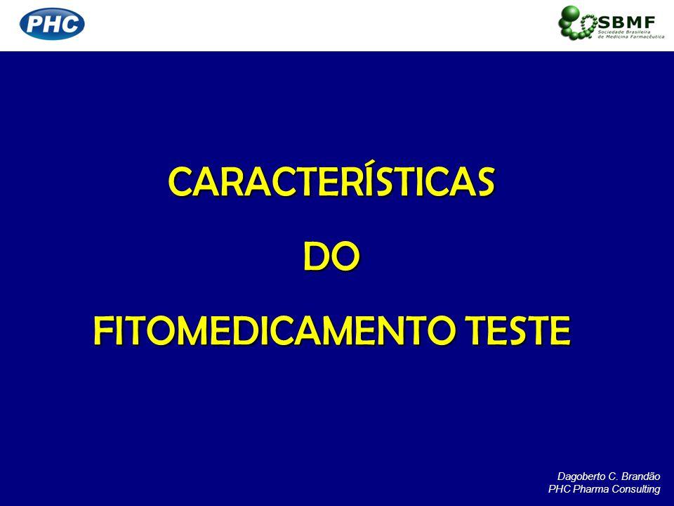 CARACTERÍSTICASDO FITOMEDICAMENTO TESTE Dagoberto C. Brandão PHC Pharma Consulting