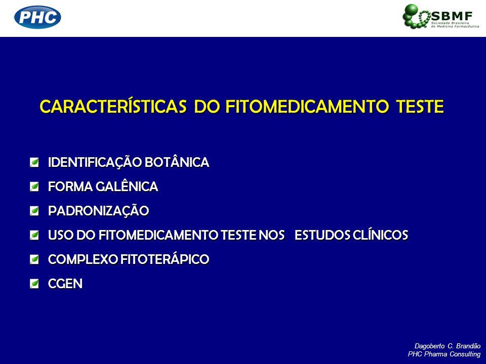 CARACTERÍSTICAS DO FITOMEDICAMENTO TESTE IDENTIFICAÇÃO BOTÂNICA FORMA GALÊNICA PADRONIZAÇÃO USO DO FITOMEDICAMENTO TESTE NOS ESTUDOS CLÍNICOS COMPLEXO