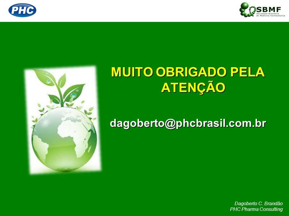 MUITO OBRIGADO PELA ATENÇÃO dagoberto@phcbrasil.com.br Dagoberto C. Brandão PHC Pharma Consulting