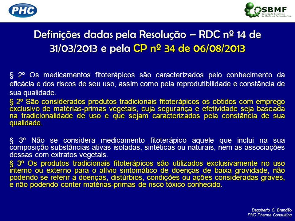 Definições dadas pela Resolução – RDC nº 14 de 31/03/2013 e pela CP nº 34 de 06/08/2013 § 2º Os medicamentos fitoterápicos são caracterizados pelo con