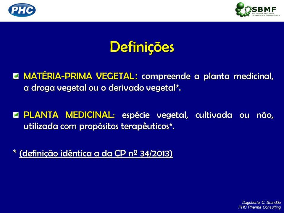 MATÉRIA-PRIMA VEGETAL : compreende a planta medicinal, a droga vegetal ou o derivado vegetal*. PLANTA MEDICINAL: espécie vegetal, cultivada ou não, ut