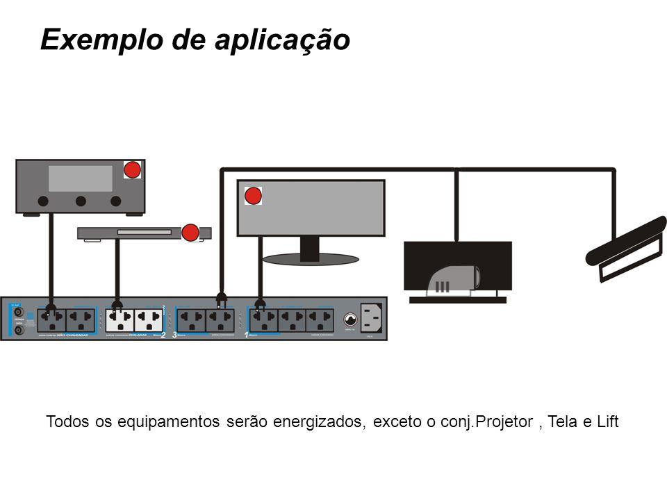 Todos os equipamentos serão energizados, exceto o conj.Projetor, Tela e Lift Exemplo de aplicação