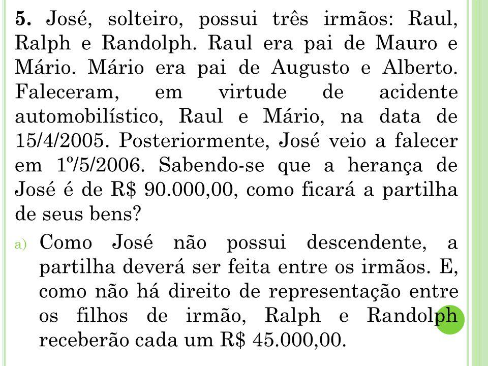 5. José, solteiro, possui três irmãos: Raul, Ralph e Randolph. Raul era pai de Mauro e Mário. Mário era pai de Augusto e Alberto. Faleceram, em virtud