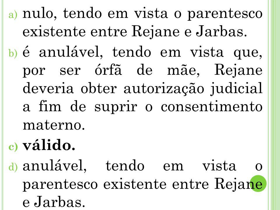 a) nulo, tendo em vista o parentesco existente entre Rejane e Jarbas. b) é anulável, tendo em vista que, por ser órfã de mãe, Rejane deveria obter aut