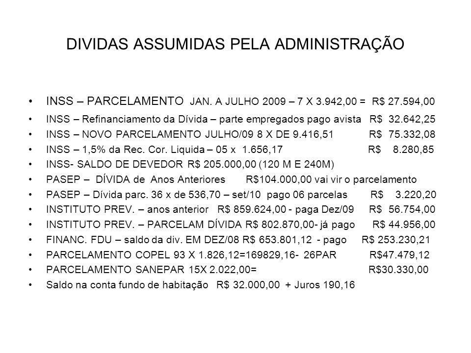 DIVIDAS ASSUMIDAS PELA ADMINISTRAÇÃO INSS – PARCELAMENTO JAN.