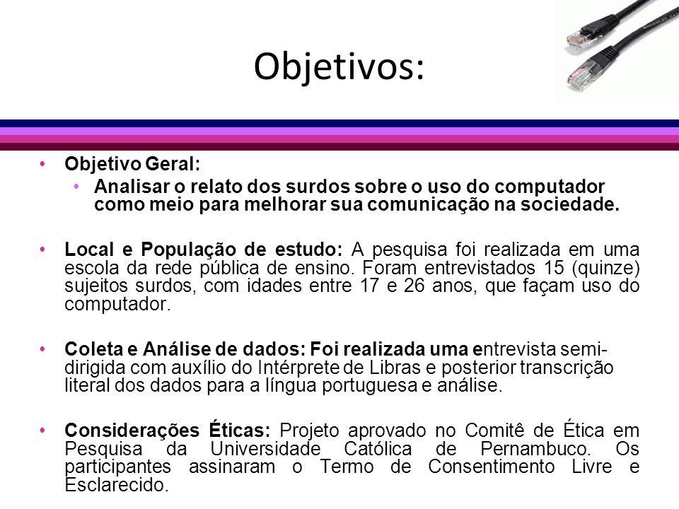 Objetivos: Objetivo Geral: Analisar o relato dos surdos sobre o uso do computador como meio para melhorar sua comunicação na sociedade. Local e Popula