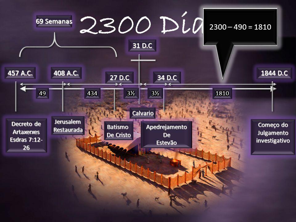 457 A.C.1844 D.C Decreto de Artaxerxes Esdras 7:12- 26 408 A.C.
