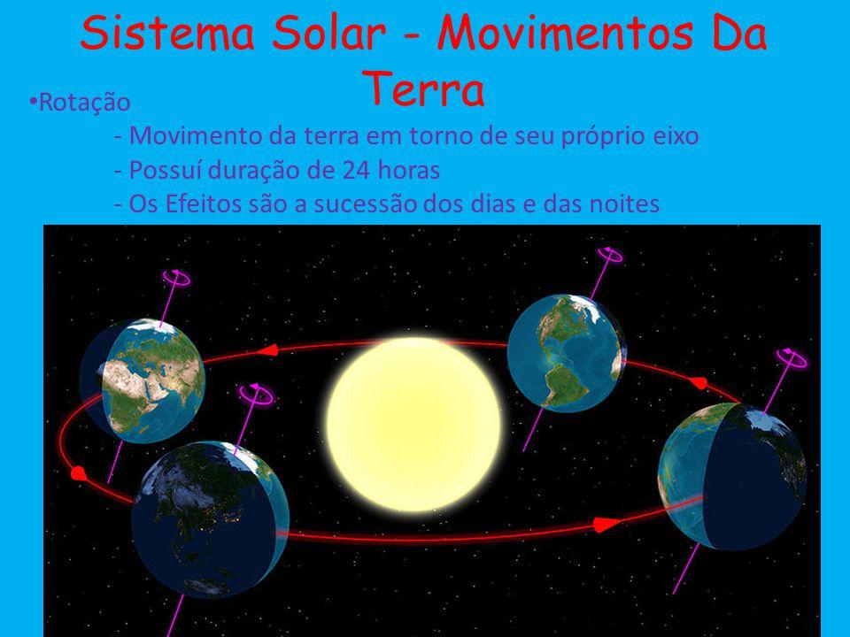 Sistema Solar - Movimentos Da Terra Rotação - Movimento da terra em torno de seu próprio eixo - Possuí duração de 24 horas - Os Efeitos são a sucessão