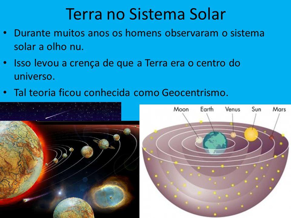 Terra no Sistema Solar Durante muitos anos os homens observaram o sistema solar a olho nu. Isso levou a crença de que a Terra era o centro do universo