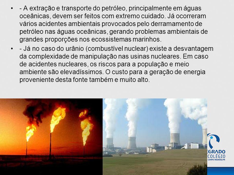 - A extração e transporte do petróleo, principalmente em águas oceânicas, devem ser feitos com extremo cuidado. Já ocorreram vários acidentes ambienta