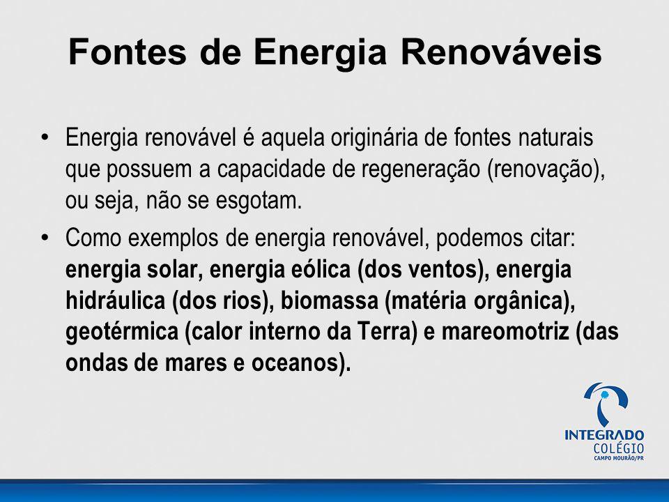 Fontes de Energia Renováveis Energia renovável é aquela originária de fontes naturais que possuem a capacidade de regeneração (renovação), ou seja, não se esgotam.