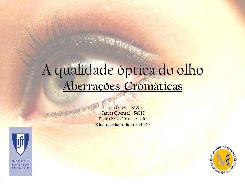 A qualidade óptica do olho Aberrações Cromáticas Bruno Lopes - 52907 Carlos Quental - 54212 Pedro Brito Cruz - 54196 Ricardo Maximiano - 54209