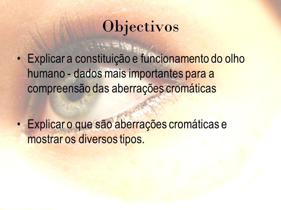 Objectivos Explicar a constituição e funcionamento do olho humano - dados mais importantes para a compreensão das aberrações cromáticas Explicar o que são aberrações cromáticas e mostrar os diversos tipos.