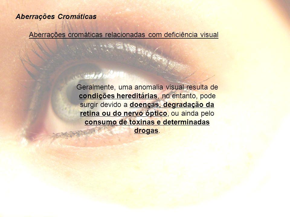 Aberrações Cromáticas Aberrações cromáticas relacionadas com deficiência visual Geralmente, uma anomalia visual resulta de condições hereditárias, no entanto, pode surgir devido a doenças, degradação da retina ou do nervo óptico, ou ainda pelo consumo de toxinas e determinadas drogas.