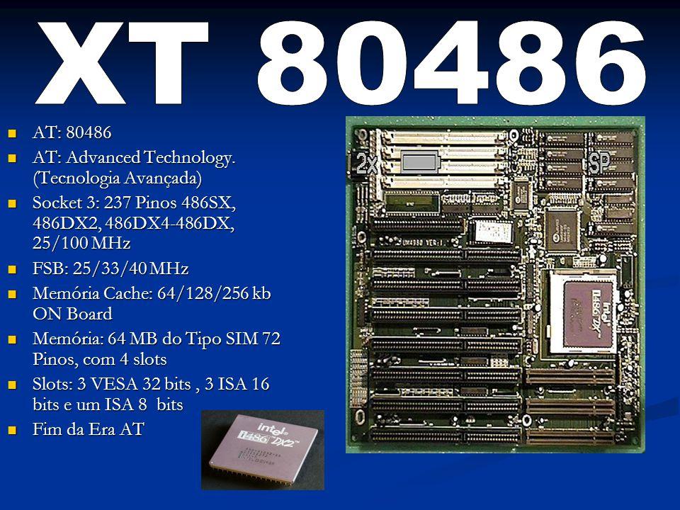 AT: 80486 AT: 80486 AT: Advanced Technology. (Tecnologia Avançada) AT: Advanced Technology. (Tecnologia Avançada) Socket 3: 237 Pinos 486SX, 486DX2, 4