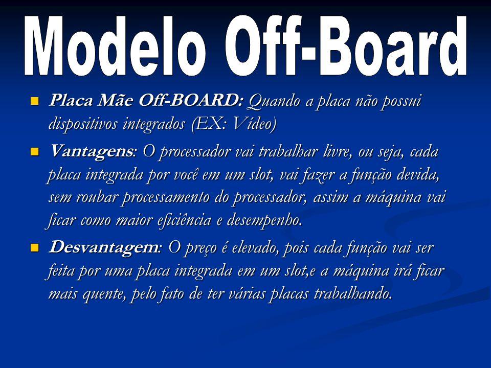Placa Mãe Off-BOARD: Quando a placa não possui dispositivos integrados (EX: Vídeo) Placa Mãe Off-BOARD: Quando a placa não possui dispositivos integra
