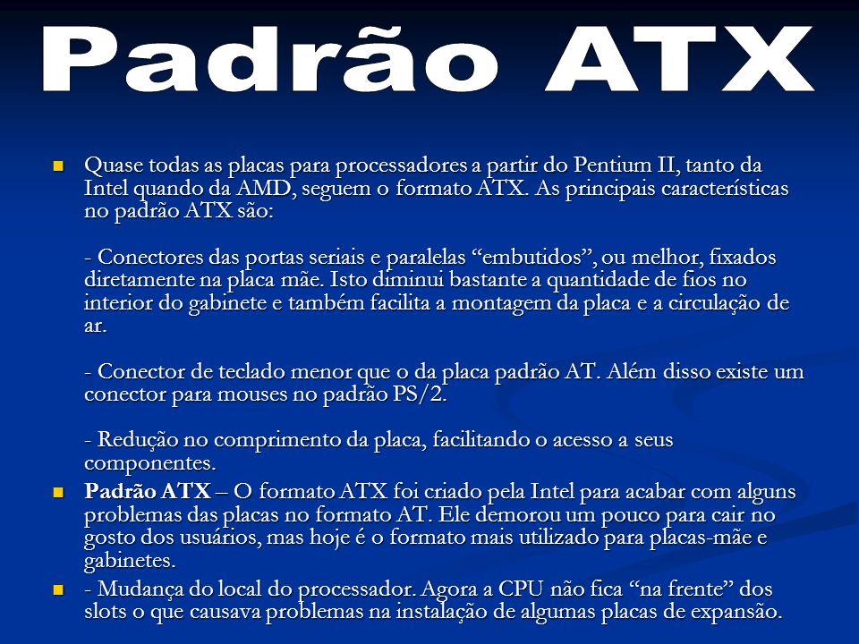 Quase todas as placas para processadores a partir do Pentium II, tanto da Intel quando da AMD, seguem o formato ATX. As principais características no