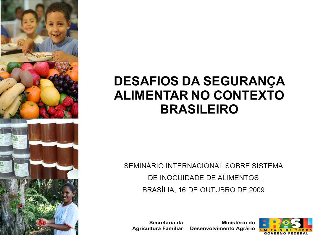 SEMINÁRIO INTERNACIONAL SOBRE SISTEMA DE INOCUIDADE DE ALIMENTOS BRASÍLIA, 16 DE OUTUBRO DE 2009 DESAFIOS DA SEGURANÇA ALIMENTAR NO CONTEXTO BRASILEIR