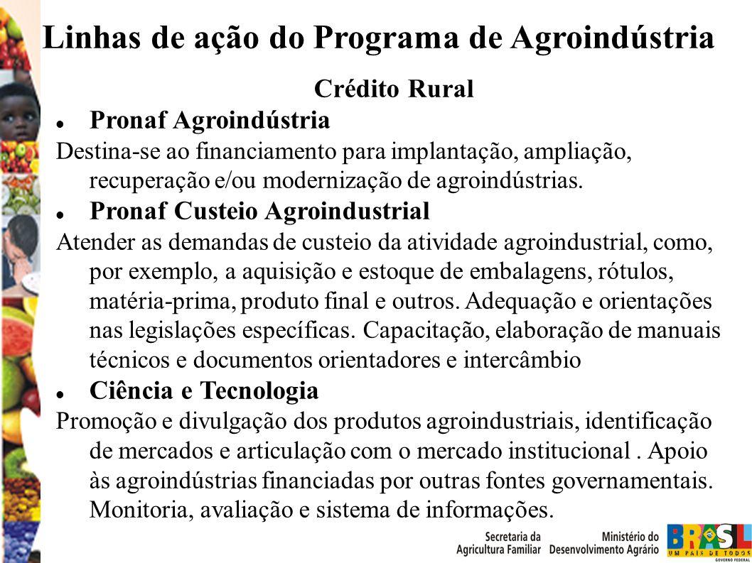 Crédito Rural Pronaf Agroindústria Destina-se ao financiamento para implantação, ampliação, recuperação e/ou modernização de agroindústrias.