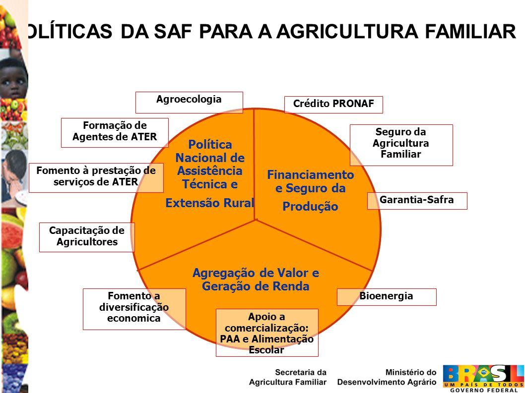 Política Nacional de Assistência Técnica e Extensão Rural Financiamento e Seguro da Produção Agregação de Valor e Geração de Renda Formação de Agentes de ATER Fomento à prestação de serviços de ATER Capacitação de Agricultores Crédito PRONAF Garantia-Safra Seguro da Agricultura Familiar POLÍTICAS DA SAF PARA A AGRICULTURA FAMILIAR Agroecologia Fomento a diversificação economica Apoio a comercialização: PAA e Alimentação Escolar Bioenergia