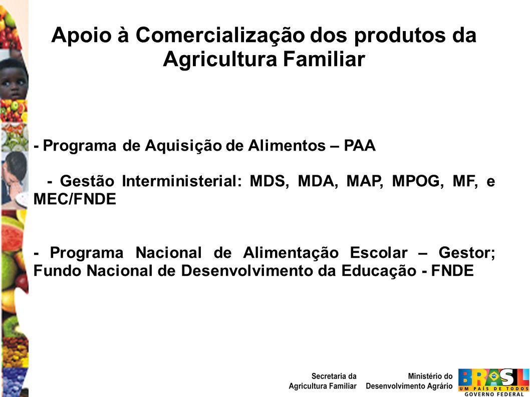 Apoio à Comercialização dos produtos da Agricultura Familiar - Programa de Aquisição de Alimentos – PAA - Gestão Interministerial: MDS, MDA, MAP, MPOG, MF, e MEC/FNDE - Programa Nacional de Alimentação Escolar – Gestor; Fundo Nacional de Desenvolvimento da Educação - FNDE