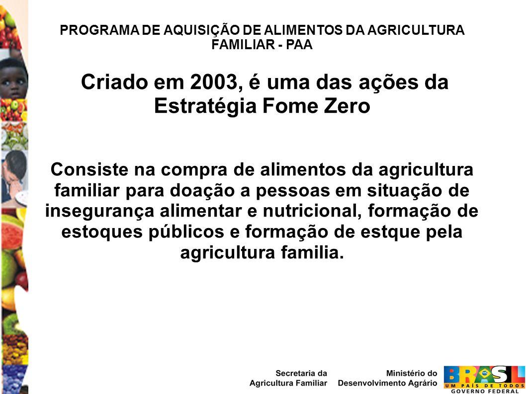 PROGRAMA DE AQUISIÇÃO DE ALIMENTOS DA AGRICULTURA FAMILIAR - PAA Criado em 2003, é uma das ações da Estratégia Fome Zero Consiste na compra de aliment