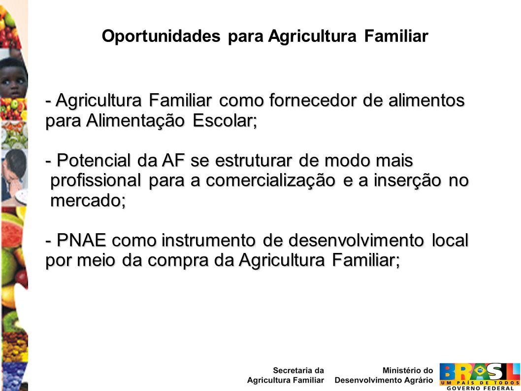 Oportunidades para Agricultura Familiar - Agricultura Familiar como fornecedor de alimentos para Alimentação Escolar; - Potencial da AF se estruturar de modo mais profissional para a comercialização e a inserção no profissional para a comercialização e a inserção no mercado; mercado; - PNAE como instrumento de desenvolvimento local por meio da compra da Agricultura Familiar;