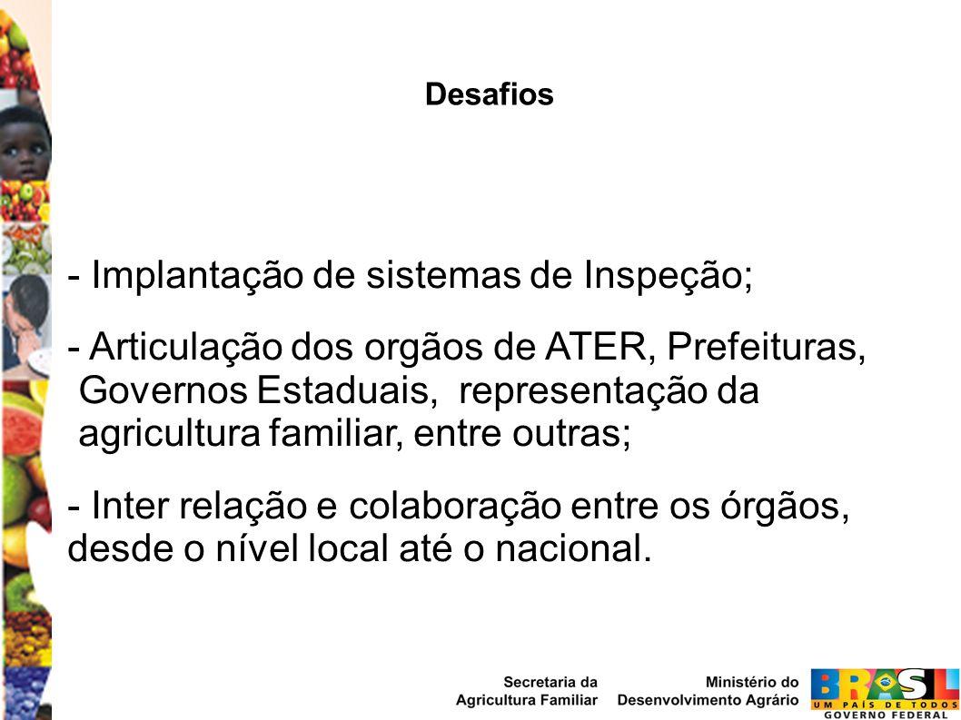 Desafios - Implantação de sistemas de Inspeção; - Articulação dos orgãos de ATER, Prefeituras, Governos Estaduais, representação da agricultura famili
