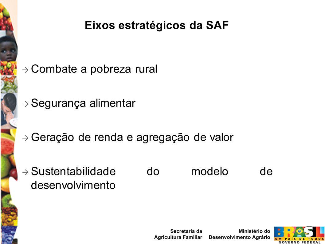 Combate a pobreza rural Segurança alimentar Geração de renda e agregação de valor Sustentabilidade do modelo de desenvolvimento Eixos estratégicos da SAF