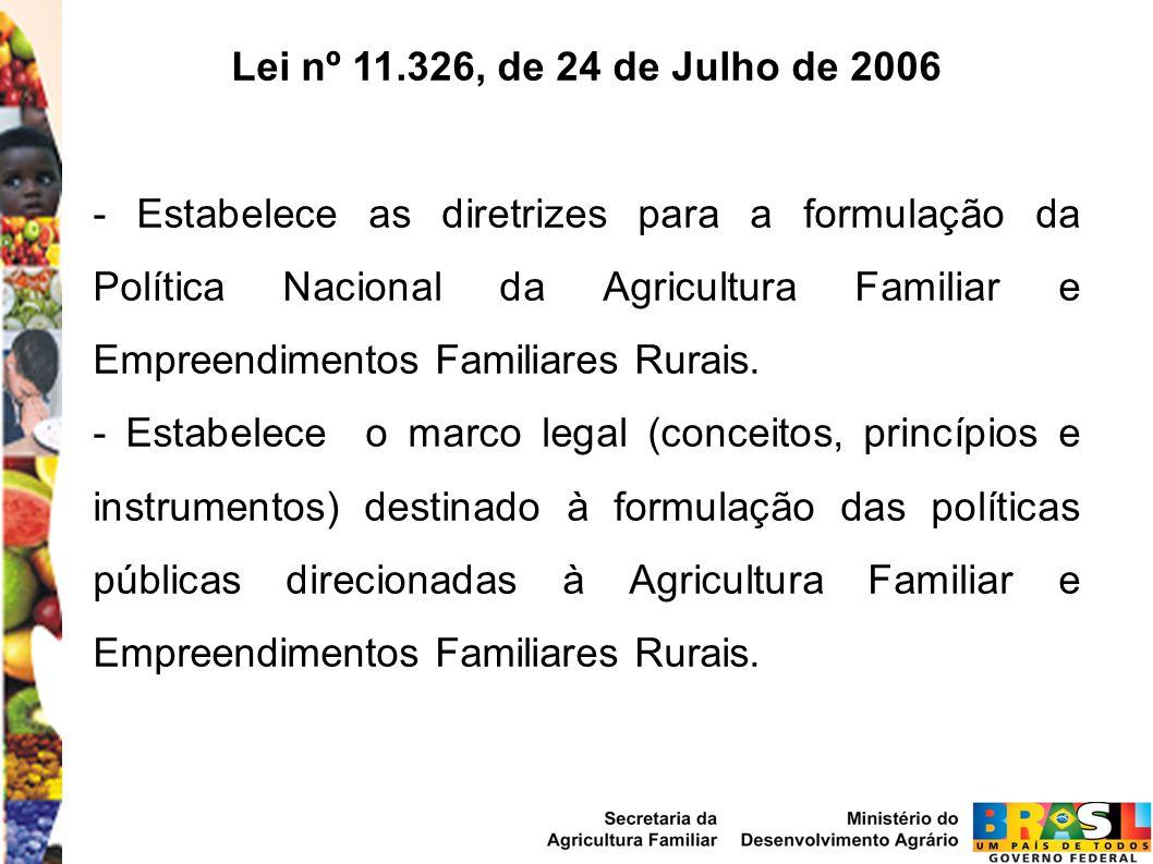 Lei nº 11.326, de 24 de Julho de 2006 - Estabelece as diretrizes para a formulação da Política Nacional da Agricultura Familiar e Empreendimentos Familiares Rurais.
