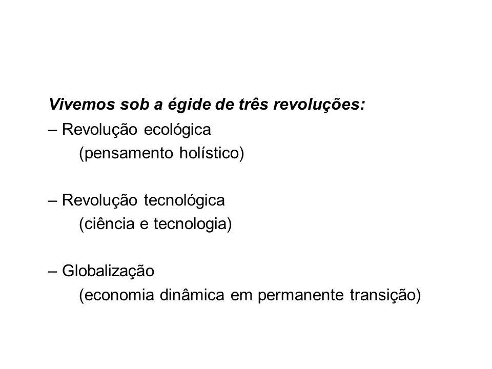 Vivemos sob a égide de três revoluções: – Revolução ecológica (pensamento holístico) – Revolução tecnológica (ciência e tecnologia) – Globalização (ec