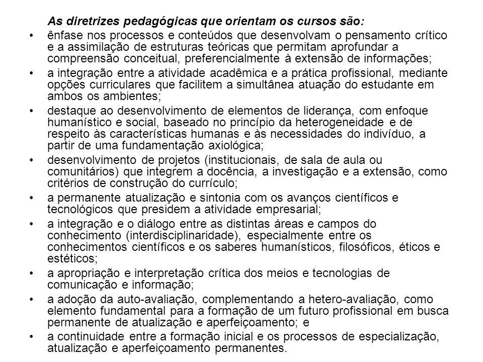 As diretrizes pedagógicas que orientam os cursos são: ênfase nos processos e conteúdos que desenvolvam o pensamento crítico e a assimilação de estrutu