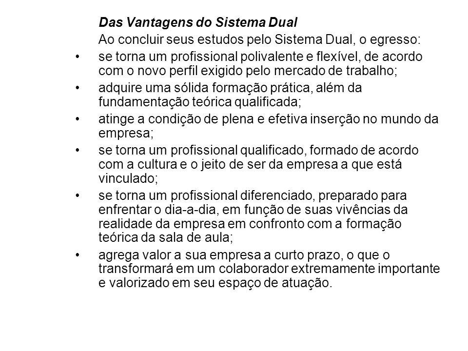 Das Vantagens do Sistema Dual Ao concluir seus estudos pelo Sistema Dual, o egresso: se torna um profissional polivalente e flexível, de acordo com o