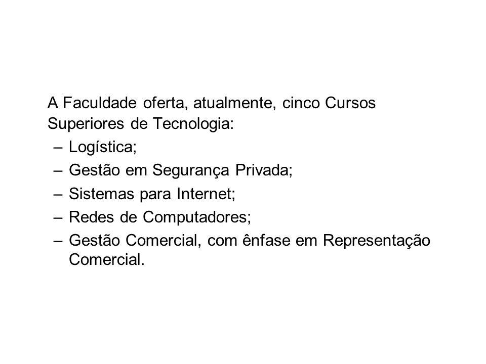A Faculdade oferta, atualmente, cinco Cursos Superiores de Tecnologia: –Logística; –Gestão em Segurança Privada; –Sistemas para Internet; –Redes de Co