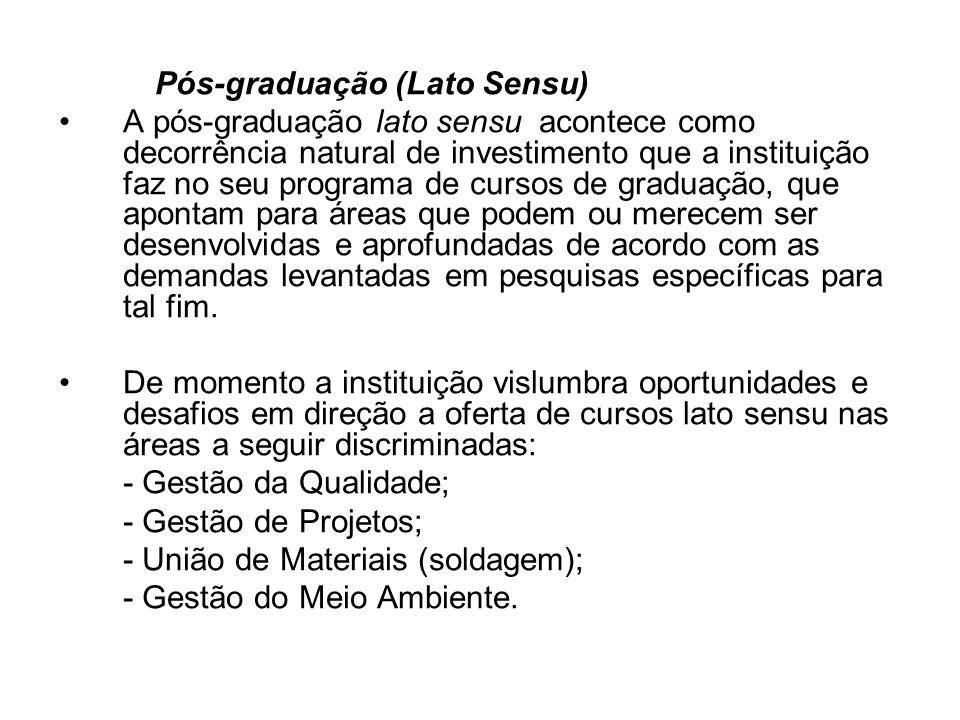 Pós-graduação (Lato Sensu) A pós-graduação lato sensu acontece como decorrência natural de investimento que a instituição faz no seu programa de curso