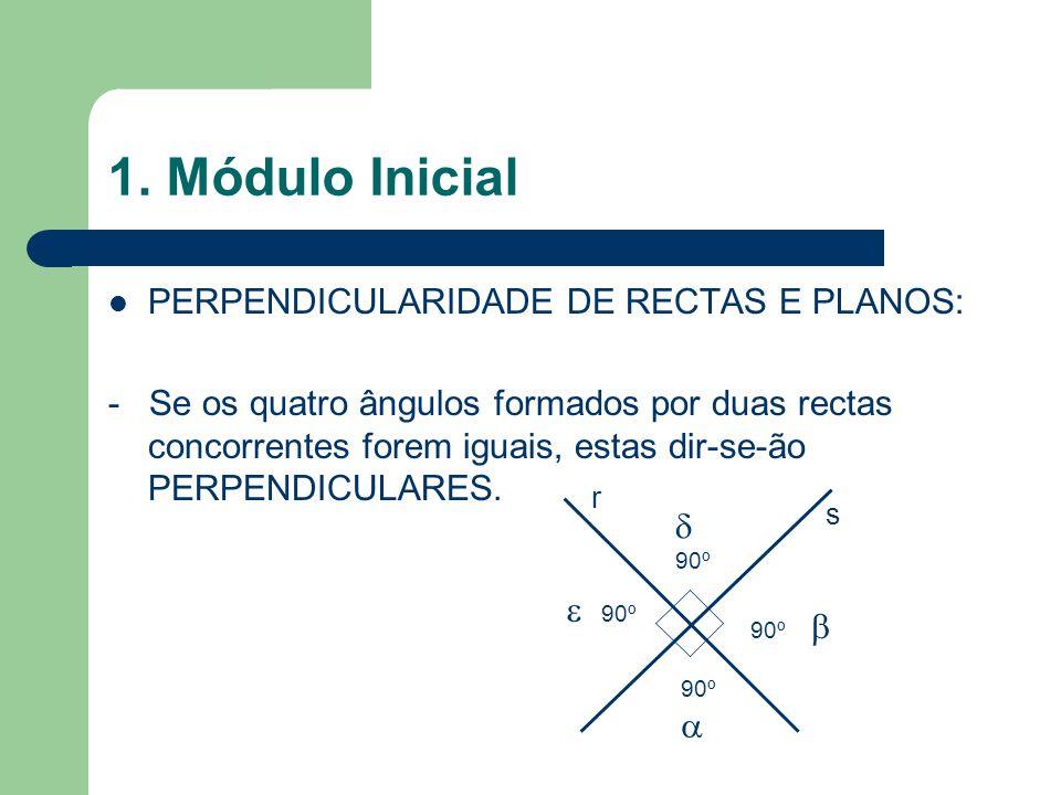 1. Módulo Inicial PERPENDICULARIDADE DE RECTAS E PLANOS: - Se os quatro ângulos formados por duas rectas concorrentes forem iguais, estas dir-se-ão PE