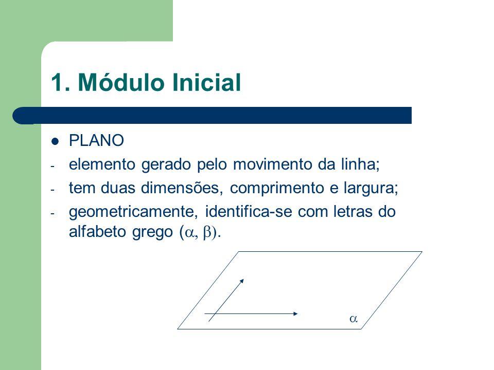 1. Módulo Inicial PLANO - elemento gerado pelo movimento da linha; - tem duas dimensões, comprimento e largura; - geometricamente, identifica-se com l