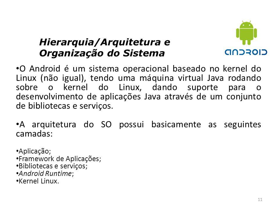 Hierarquia/Arquitetura e Organização do Sistema 11 O Android é um sistema operacional baseado no kernel do Linux (não igual), tendo uma máquina virtua