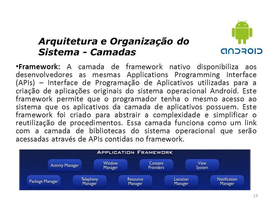 Arquitetura e Organização do Sistema - Camadas 14 Framework: A camada de framework nativo disponibiliza aos desenvolvedores as mesmas Applications Pro