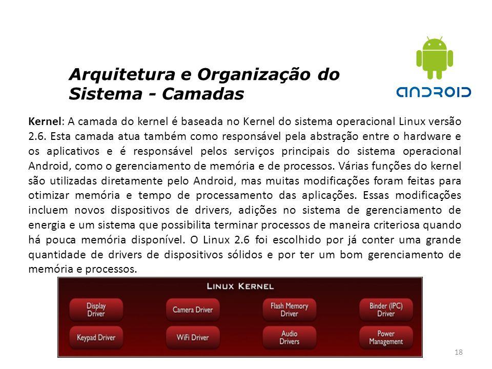 Arquitetura e Organização do Sistema - Camadas 18 Kernel: A camada do kernel é baseada no Kernel do sistema operacional Linux versão 2.6. Esta camada