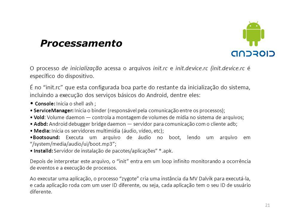 Processamento 21 O processo de inicialização acessa o arquivos init.rc e init.device.rc (init.device.rc é específico do dispositivo. É no init.rc que