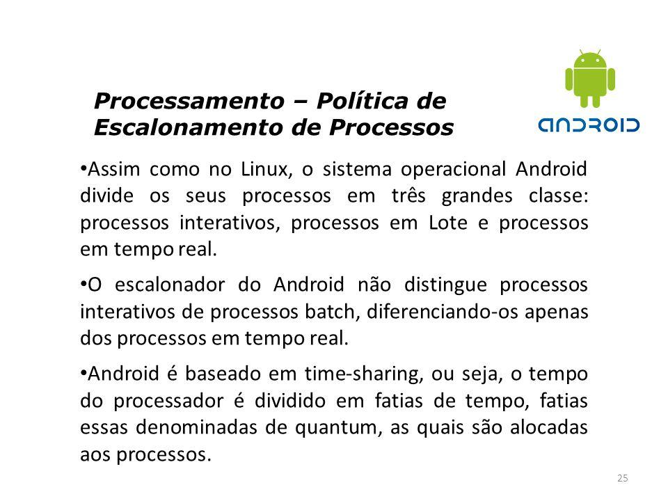 Processamento – Política de Escalonamento de Processos 25 Assim como no Linux, o sistema operacional Android divide os seus processos em três grandes